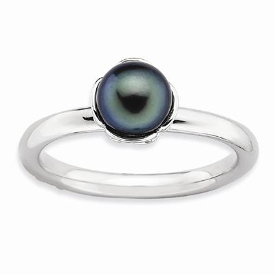 Black Freshwater Cultured Pearl Ring, Sterling Silver