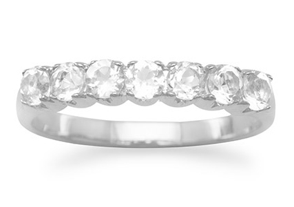 7-Stone White Topaz Wedding Band Ring, Sterling Silver