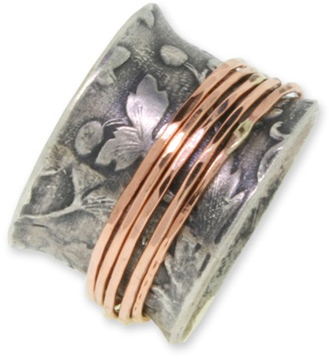 14K Rose Gold and Sterling Silver Floral Band