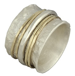 Hammered 14K Gold and Sterling Silver Spinner Band