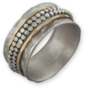Buy Handmade Beaded Spinner Band in 14K Gold and Sterling Silver