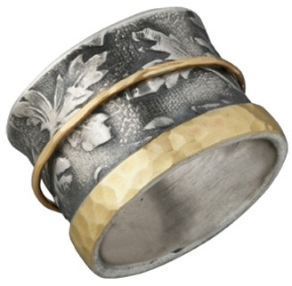 14K Gold Rimmed Sterling Silver Floral Spinner Ring (Rings, Apples of Gold)