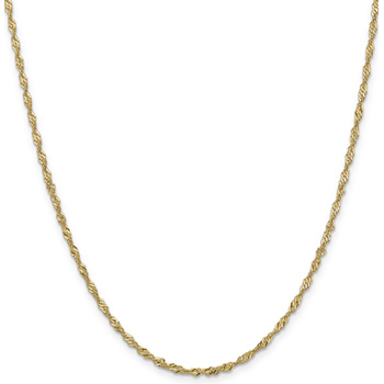 2mm 14K Gold Singapore Chain Necklace