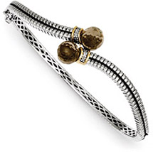 Smoky Quartz Silver & Gold Bangle Bracelet