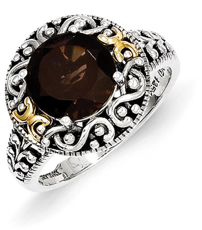 Smoky Quartz Silver and 14K Gold Paisley Floral Ring