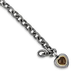 Smoky Quartz Silver Heart Bracelet