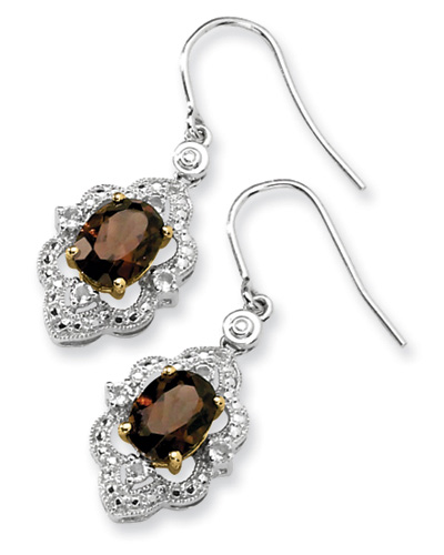 Smoky Quartz and White Topaz Earrings in Sterling Silver