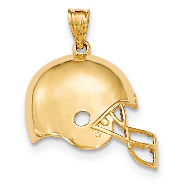 14K Gold Football Helmet Pendant
