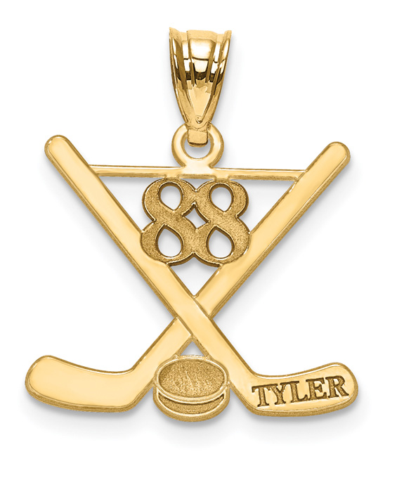 14K Gold Hockey Pendant with Name and Number