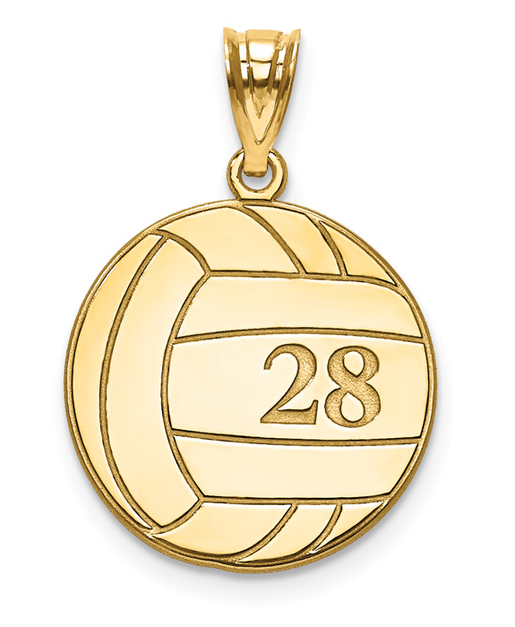 14K Gold Personalized Volleyball Pendant with Number and Name