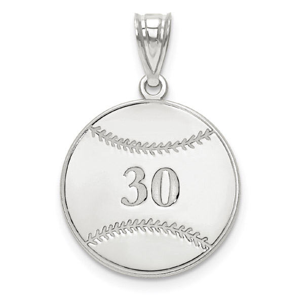Custom Sterling Silver Baseball Necklace with Number and Name
