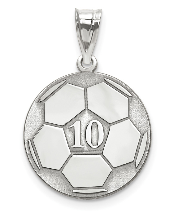 f8983cb82 Sterling Silver Soccer Ball Pendant with Number and Name