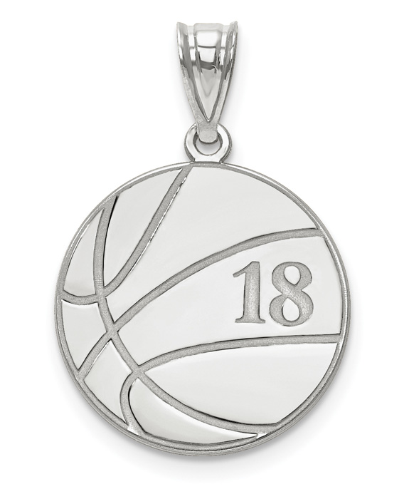 Custom 14K White Gold Basketball Pendant w/ Name and Number