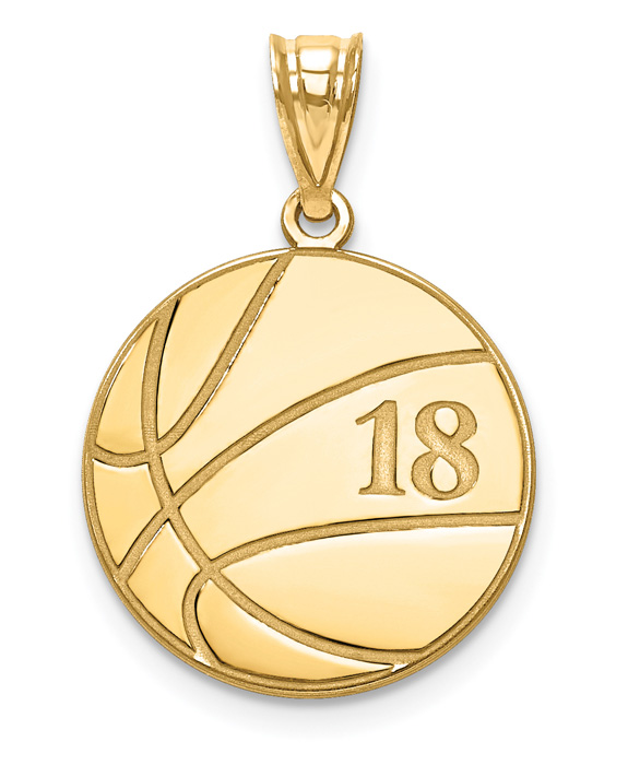 Personalized 14K Gold Basketball Necklace with Number and Name