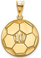 Personalized 14K Gold Soccer Ball Pendant with Number and Name