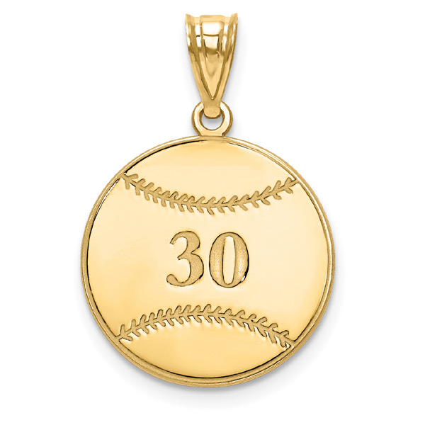 Personalized Baseball Pendant in 14K Gold with Name and Number
