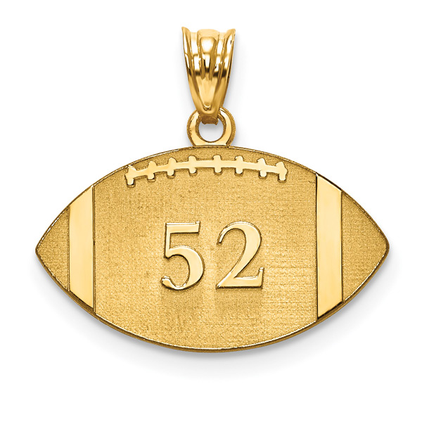 Personalized 14K Gold Football Pendant with Name and Number