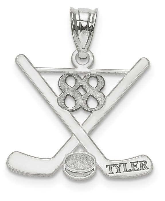 14K White Gold Hockey Pendant with Your Name and Number