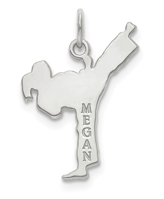 14K White Gold Personalized Karat Necklace with Name