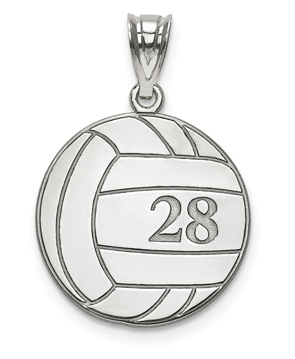 Sterling Silver Volleyball Necklace with Number and Name