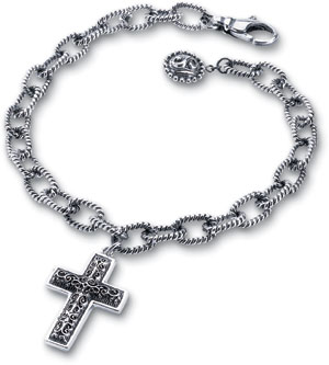 Starhaven Sterling Silver Adjustable Cross Charm Bracelet