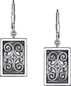 Starhaven Sterling Silver Filigree Rectangle Earrings