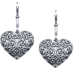 Starhaven Sterling Silver Filigree Heart Earrings