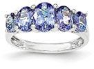 5-Stone Oval Real Tanzanite Ring in 14K White Gold