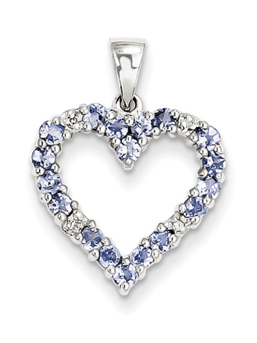 Real Tanzanite and Diamond Heart Pendant, Sterling Silver