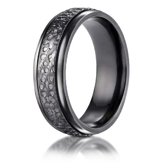 Black Titanium Hammered Wedding Band Ring