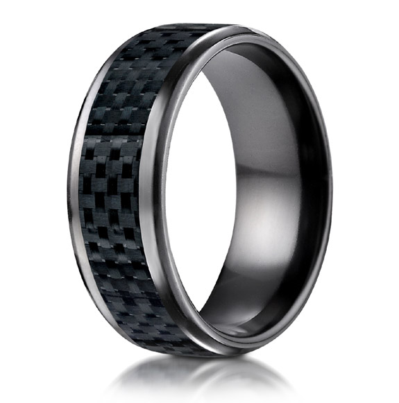 Black Titanium Carbon Fiber Inlay Wedding Band Ring