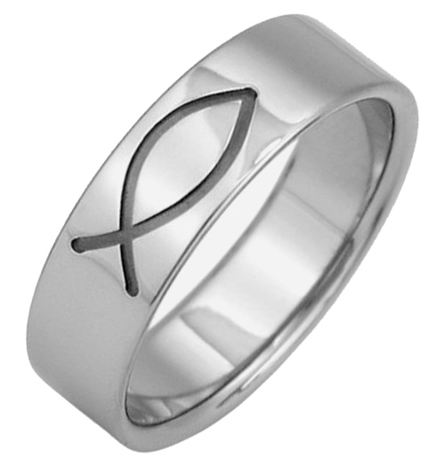 Black Ichthus Titanium Wedding Band Ring