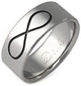 Black Titanium Infinity Symbol Wedding Band Ring