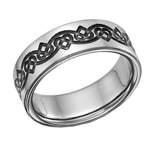 Black Titanium Celtic Heart Love Knot Wedding Band