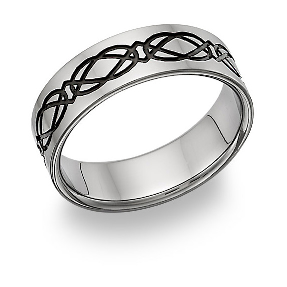 Black Titanium Celtic Knot Wedding Band Ring
