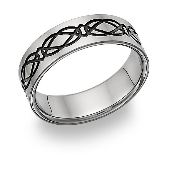 Black Titanium Celtic Knot Wedding Band Ring