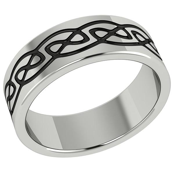 Black Titanium Celtic Wedding Band Ring
