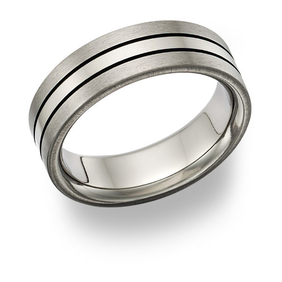 Black Titanium Grooved Wedding Band Ring
