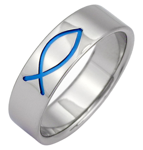 Blue Ichthus Titanium Wedding Band