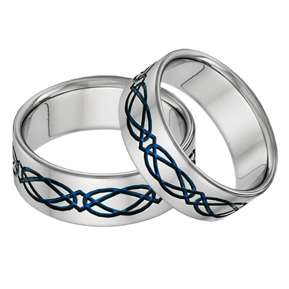 Titanium Celtic Wedding Band Set in Blue