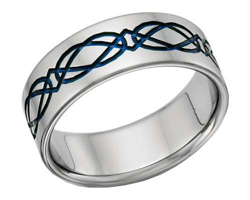 Titanium Celtic Wedding Band Ring in Blue