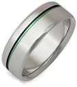 Green Sliver Titanium Wedding Band Ring