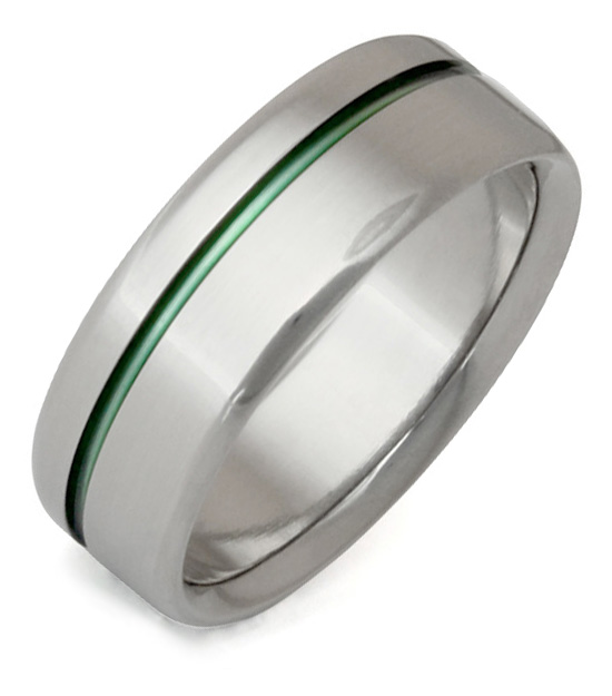 Green Sliver Titanium Wedding Band Ring