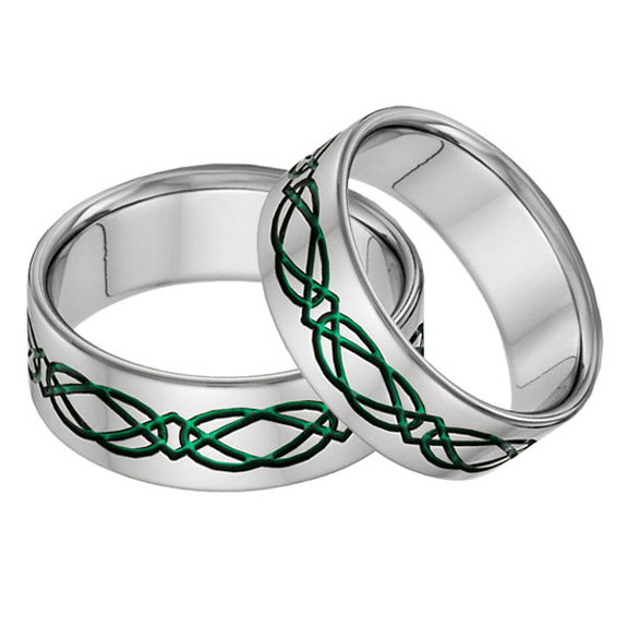 Titanium Celtic Wedding Band Ring Set in Green