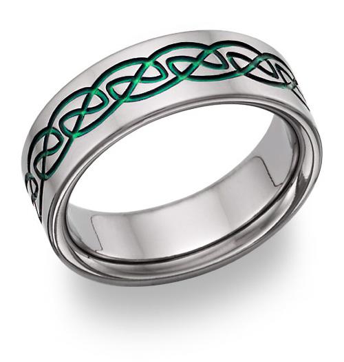 Green Titanium Celtic Wedding Band