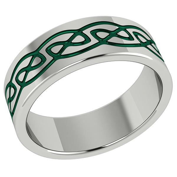 Irish Green Titanium Celtic Wedding Band Ring