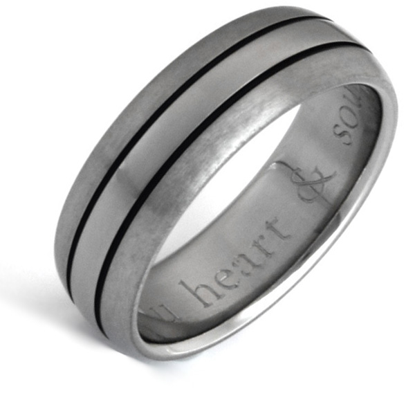 Matte & Polished Titanium Wedding Band Ring with Black Grooves