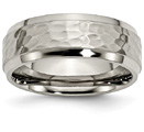 Mens Hammered Titanium Wedding Band Ring