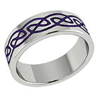 Purple Titanium Celtic Wedding Band Ring
