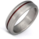 Beveled Red Titanium Wedding Band Ring